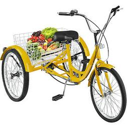 Adult Tricycle 1-Speed 3 Wheel  20'' Yellow Trike Bike Exerc