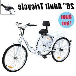 "Ridgeyard Adult 26"" Tricycle Shimano 7-Speed Trike Bicycle B"