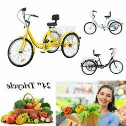 """Adult 7-Speed Adult 24"""" 3-Wheel Tricycle Trike Bike Bicycle"""