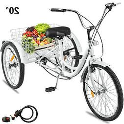 Adult Tricycle 1-Speed 3 Wheel  20'' Yellow Trike Bike 3-Whe