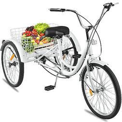"""Shimano 7-Speed Adult 24"""" 3-Wheel Tricycle Trike Bicycle Bik"""