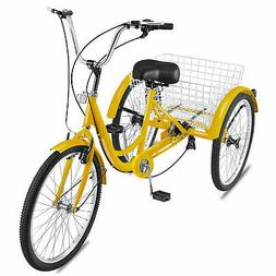"7-Speed 24"" 3-Wheel Adult Tricycle Bicycle Trike Cruise Bike"