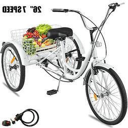 """Adult Tricycle 26"""" Wheel 7 Speed 3 Wheels White Bicycle Trik"""