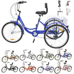 Adult Tricycles 7 Speed Trikes 20/24/26 inch 3 Wheel Bikes w