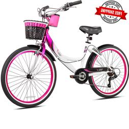 Beach Cruiser Bicycle Bike Womens 24 Inch Girls 7 Speed Vint