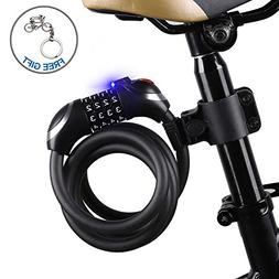 ICOCOPRO Bike Cable Lock with LED Light Easy Use in Night, B