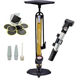 Lumintrail Bike Floor Pump with Gauge 160 PSI High Pressure