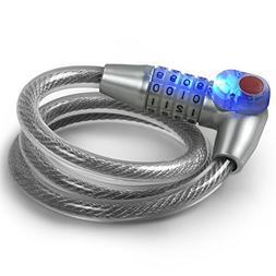 Tektalk LED Bike Lock / Illuminated Bicycle Cable Lock / Ant