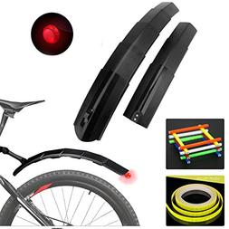 Bike Retractable Fender Flap with Rear LED Tail Light and Re