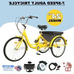"""Ridgeyard 3-Wheel 7-Speed 24"""" Tricycle Bike Bicycle Trike Cr"""