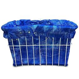Cruiser Candy Blue Jeans Bicycle Basket Liner