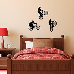 BMX Bike Wall Decal - Set of Three - Children Wall Decals -