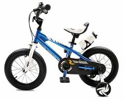Royalbaby BMX Freestyle 14 inch Kid's Bike, Blue with two ha