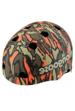 Mongoose Youth Logo Camo Grit Helmet, Orange/Green