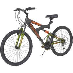 Boys Mountain Bike 24 Inch Comfort Road Bicycle Black Steel