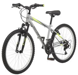 "Roadmaster Granite Peak Boy's Mountain Bike, 24"" Silver 18-s"