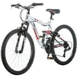 """Boys' Mountain Bike 24"""" Mongoose Ledge 2.1, Silver/Red for r"""