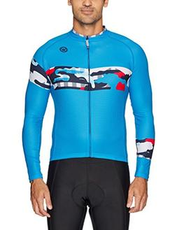 Canari Men's Century Cycle Jersey, Ginghamo Cosmic Blue, Med