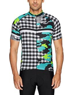 Canari Men's Century Cycle Jersey, Large, Ginghamo Lagoon,