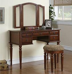Cherry 3 pc Vanity Set Tri Mirror Wooden Table Stool Makeup