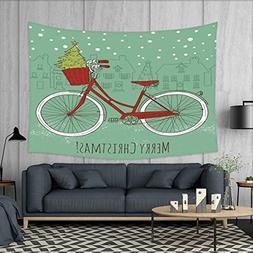 Christmas Tapestry Wall Hanging 3D Printing Hand Drawn Vinta