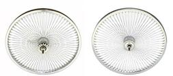 "Chrome 20"" 144 Spoke Wheel Set. Front and Back Coaster Wheel"