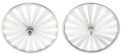"Chrome 26"" FAN 144 Spoke Wheel Set. Front and Back Coaster W"