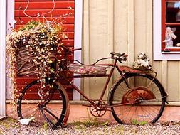 12 X 16 INCH / 30 X 40 CMS VINTAGE BIKE BICYCLE FLOWER BASKE