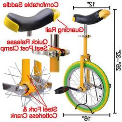 """20"""" in Colorized Wheel Uni-Cycle Skidproof Unicycle w Stand"""