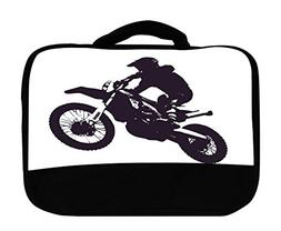 Dirt Bike Dirtbike Silhouette Canvas Lunch Bag by Moonlight