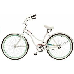 "26"" Titan Docksider Deluxe Women's Beach Cruiser Bike, White"