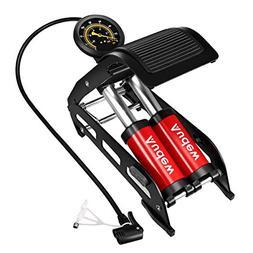 Audew Dual-Cylinder Foot Pump, Portable Floor Pump with Accu