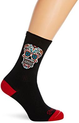 SockGuy El Dia Crew 6IN Cycling Sock, Black, Small