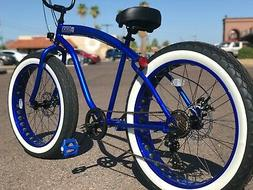 Fat Tire Beach Cruiser Bike 🌴 ELECTRIC BLUE - 7 SPEED-CUT