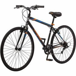 Mongoose Fitness Bike Men 700C Black Hybrid Commuter Sport C
