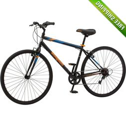 Mongoose Fitness Bike Men 700C Black Hybrid Urban Commuter S