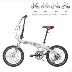 "20"" Folding Bike 6 Speed Foldable Bicycle Shimano School Spo"