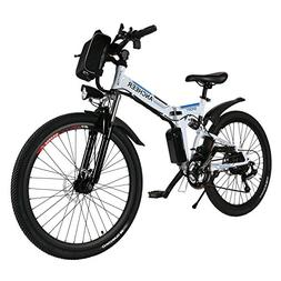 "ANCHEER Folding Electric Mountain Bike with 26"" Super Lightw"