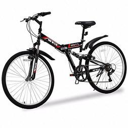 """Folding Mountain Bike 7 Speed Black 26"""" Bicycle Shimano Hybr"""