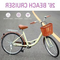 Girl's Beach Cruiser Bike 26 Inch Bicycle Step-through Frame