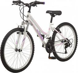 Roadmaster Granite Peak Girls Mountain Bike, 24 Wheels, Whit