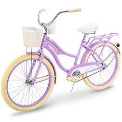 Huffy Cruiser Bike Womens, Holbrook 24 inch, Lavender & Red
