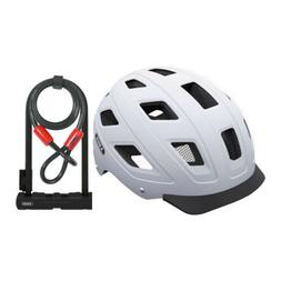 Abus Hyban Urban Bike Helmet  and Ultra 410 U-Lock Bundle