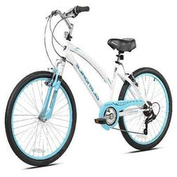 "Kent Cruiser Bike Girls 24"" White Hybrid City Beach Bicycle"