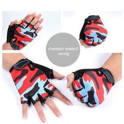 Kids Camo Outdoor Cycling Half Finger Gloves for MTB BMX Bik