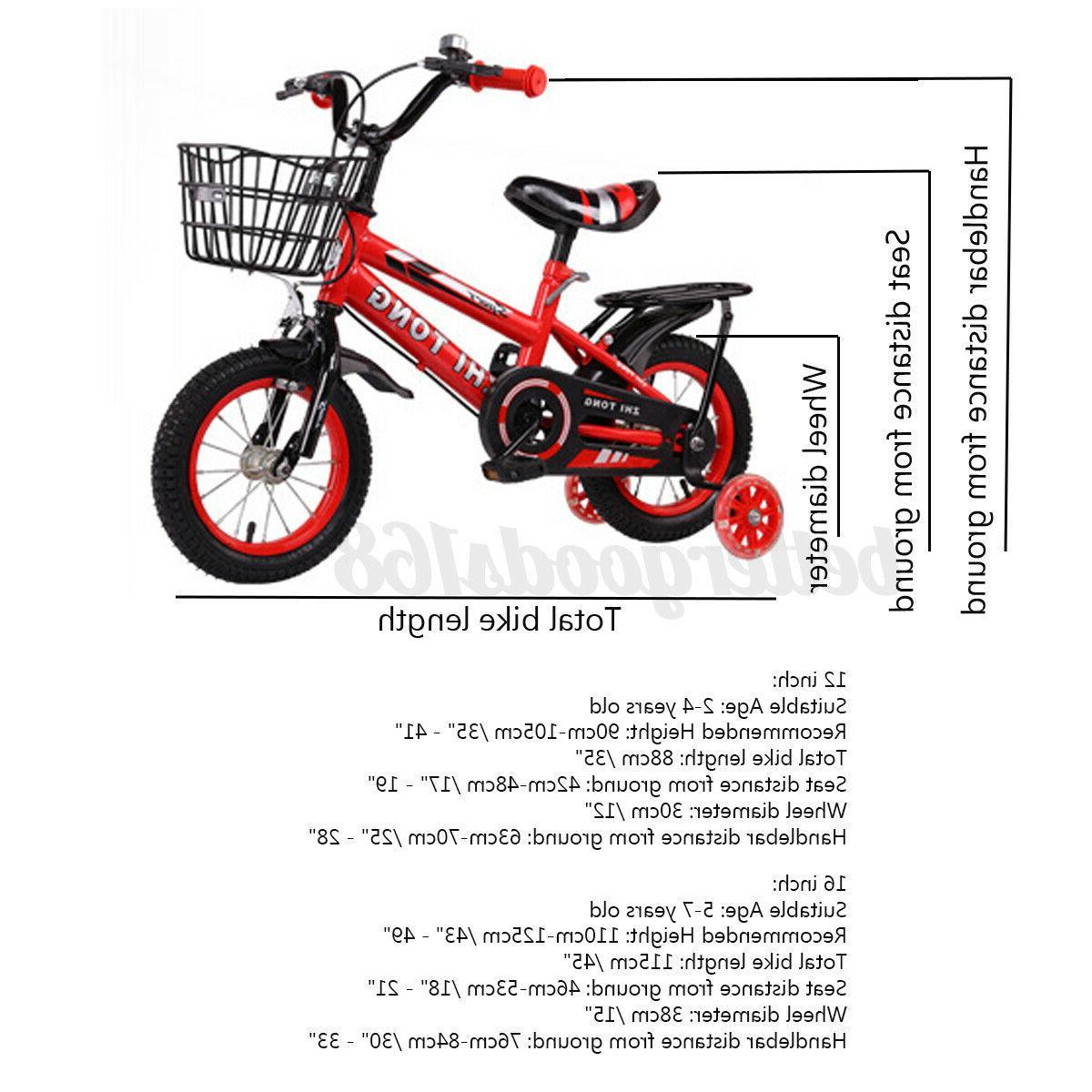 "12""/16"" Bike Adjustable Seat With Training Wheel Boy Girl Red"
