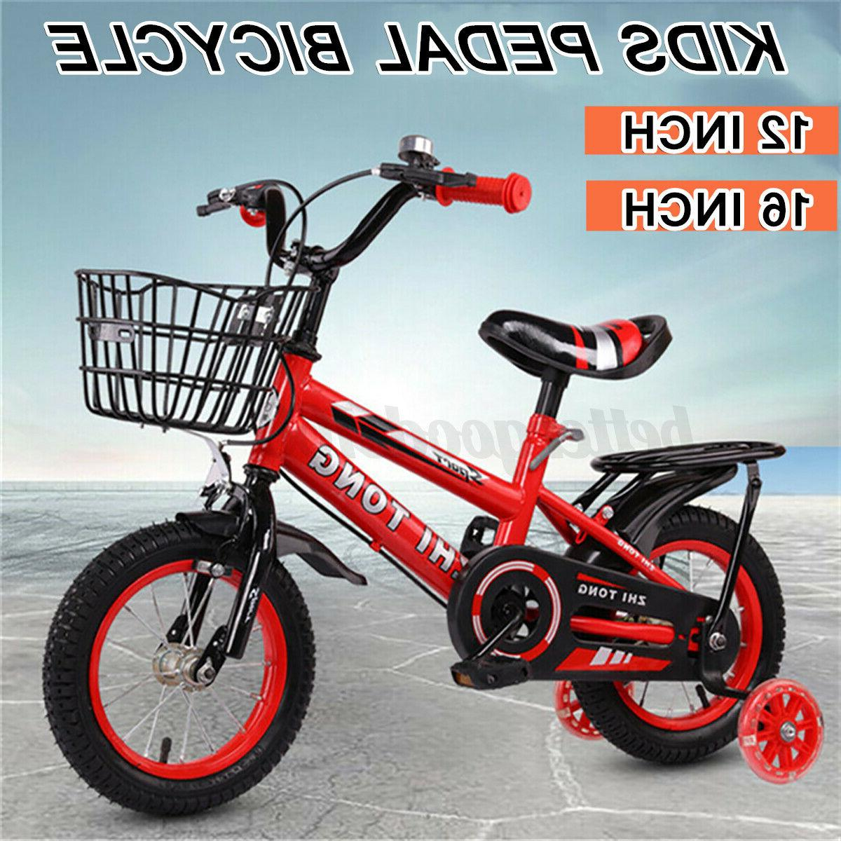 """12""""/16"""" Bike Adjustable With Pedal Training Wheel Boy Red"""