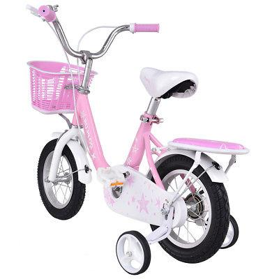 "16"" Kids Bike Bicycle Children Boys & Girls with Training Basket Pink"