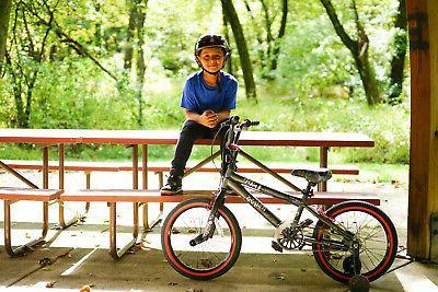 18 inch Abyss Boys BMX Charcoal Training Wheels Kid Ride Park Sidewalk