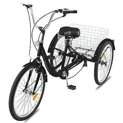"""Adult Tricycle 3-Wheels Trike 24"""" 7-Speed Bike Bicycle Bicyc"""